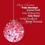 Bola de Navidad con mensaje de felicitación en varios idiomas