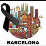 dibujo de la ciudad de Barcelona con crespón negro