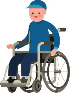Niño en una silla de ruedas