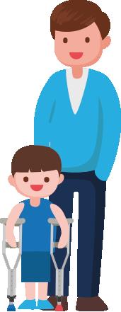 Dibujo de un padre y su hijo con espasticidad